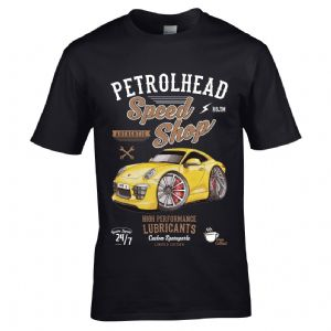 Premium Koolart Petrolhead Speed Shop Motif With Yellow 911 Carrera S Car Image Mens T-shirt Top